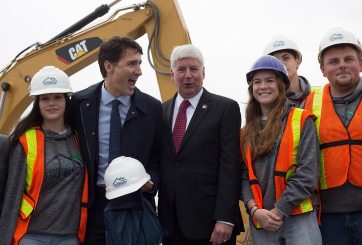 Prime Minister Justin Trudeau, Michigan Governor Rick Snyder, Windsor,
