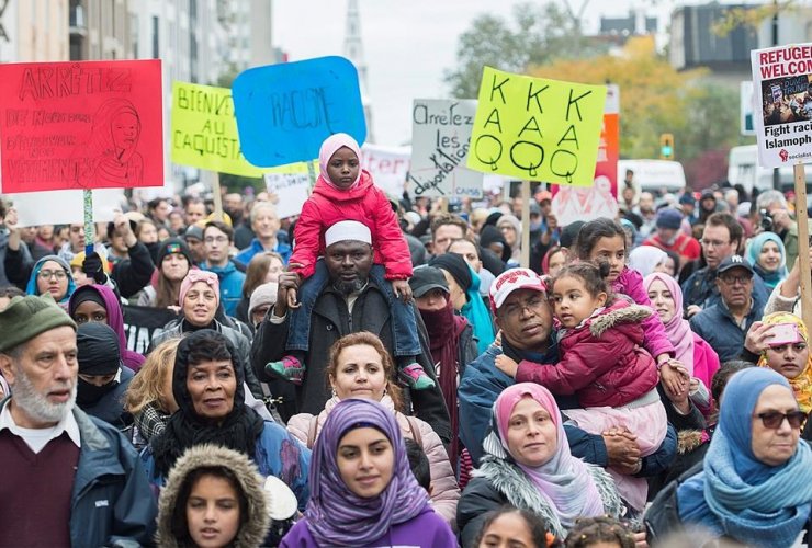 People, demonstration, racism, Montreal,