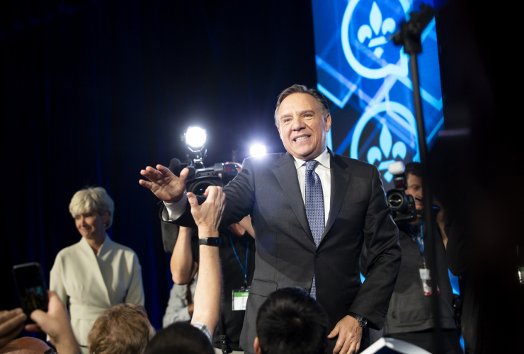 François Legault at CAQ election headquarters on election night, Oct. 2 2018