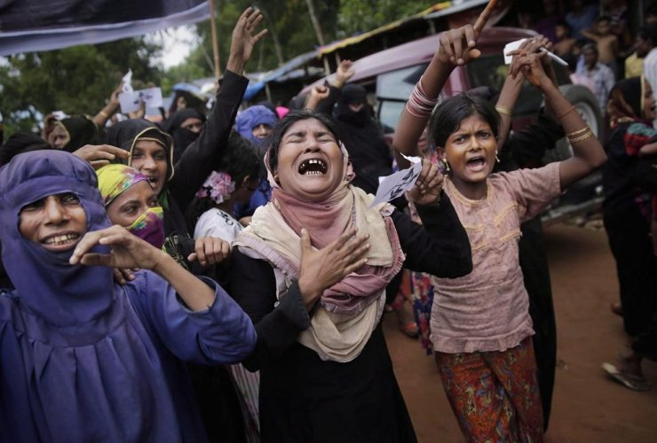 Rohingya women, protest rally, Kutupalong refugee camp, Bangladesh,