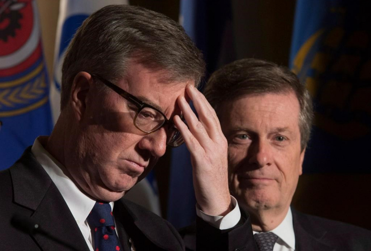 Ottawa Mayor Jim Watson, Toronto Mayor John Tory,
