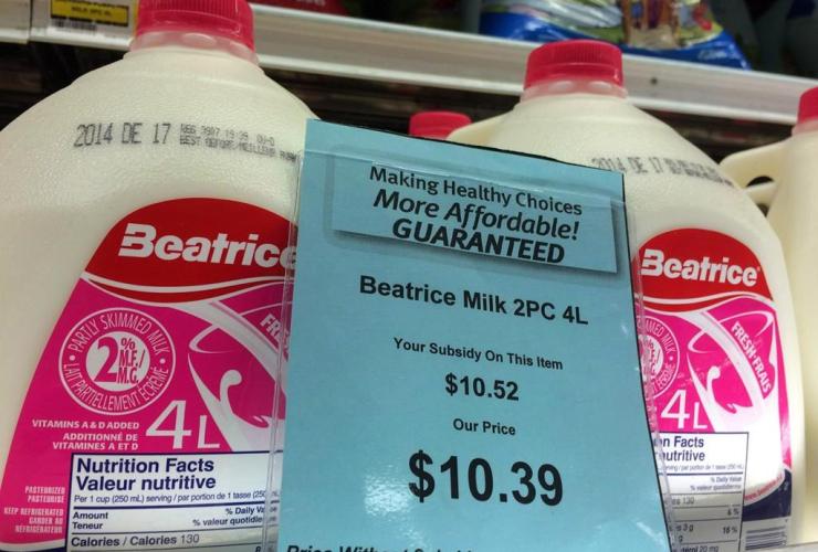 price tag, milk, grocery store, Iqaluit, Nunavut,
