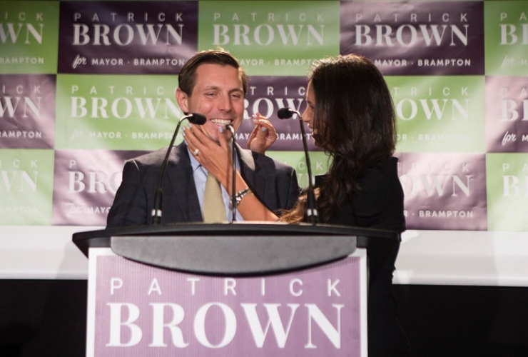 Brampton Mayor Patrick Brown, wife, Genevieve Gualtieri, Brampton Mayoral Election,