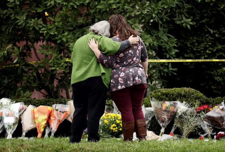 people, flowers, makeshift memorial, Tree of Life Synagogue, Pittsburgh,
