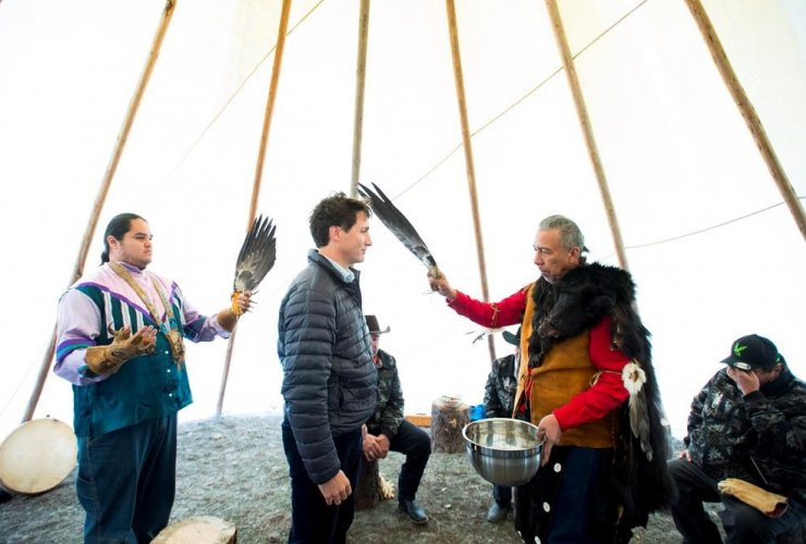 Prime Minister Justin Trudeau, spiritual leader Cecil Grinder, Tsilhqot'in National Government, Chilko Lake,