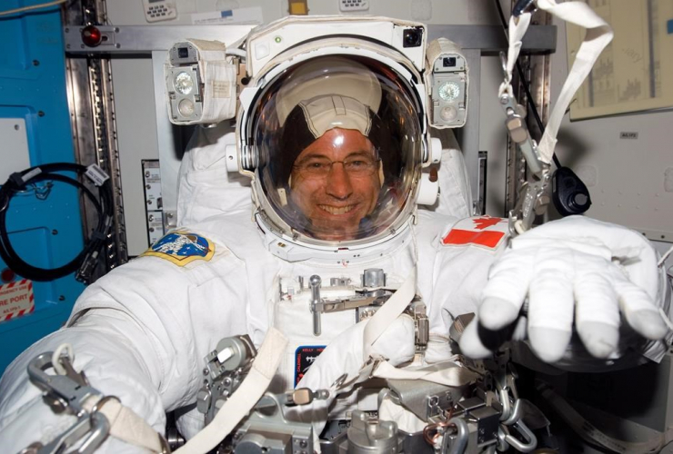 Former Canadian astronaut Dave Williams, spacesuit, spacewalk,