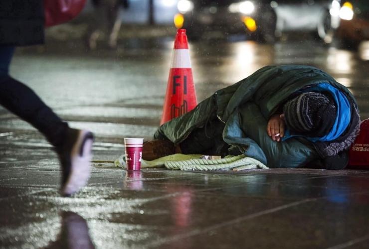 homeless person, downtown Toronto,