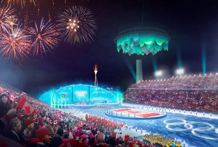 artist's rendering, refurbished, McMahon Stadium, Calgary,