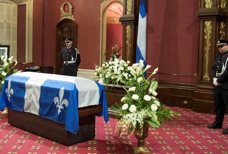 casket, former Quebec premier, Bernard Landry, National Assembly, Quebec City,