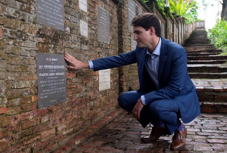 Canadian Prime Minister Justin Trudeau,  grave stone, Esther Bernard, Fort Canning park, Singapore,