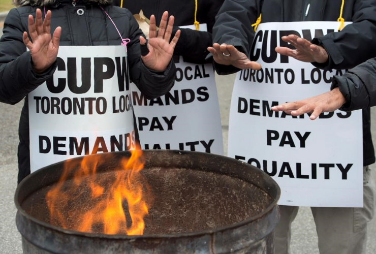 Striking, Canada Post workers, South Central sorting facility, Toronto,