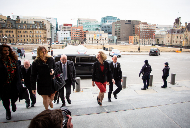 Alberta Premier Rachel Notley met Prime Minister Justin Trudeau and B.C. Premier John Horgan in Ottawa on April 15, 2018 to discuss the Trans Mountain pipeline expansion. She is expected to be back in Ottawa in November 2018. Photo by Alex Tétreault