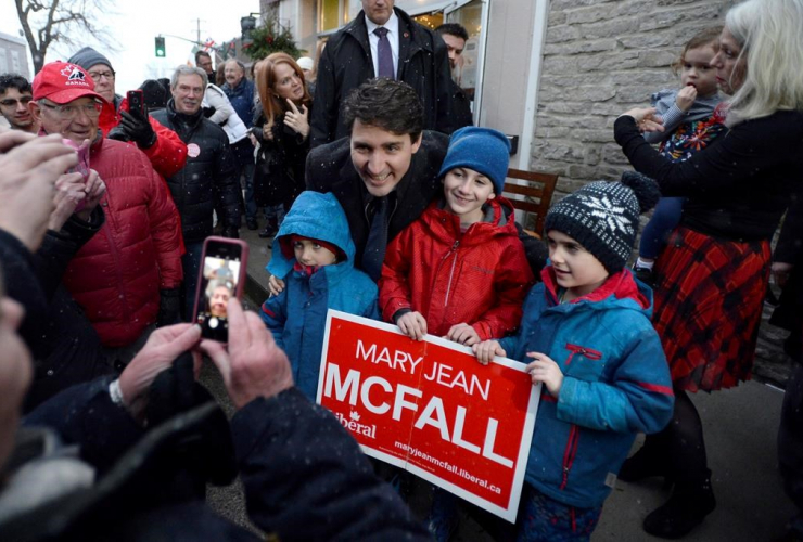 Prime Minister Justin Trudeau, supporters, Mary Jean McFall, Liberal candidate, Leeds Grenville Thousand Islands, Rideau Lakes, Brockville,