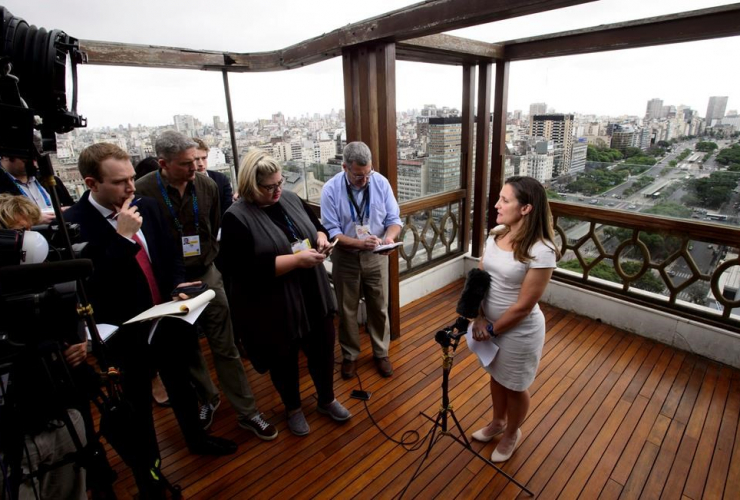 Minister of Foreign Affairs, Chrystia Freeland, Panamericano Hotel, Buenos Aires, Argentina,