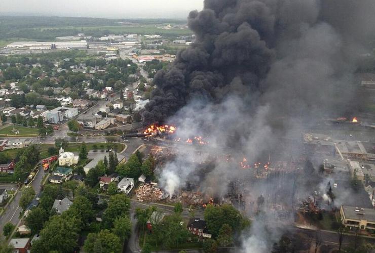 Lac Megantic oil car explosion. Photograph creative commons. Wikipedia.