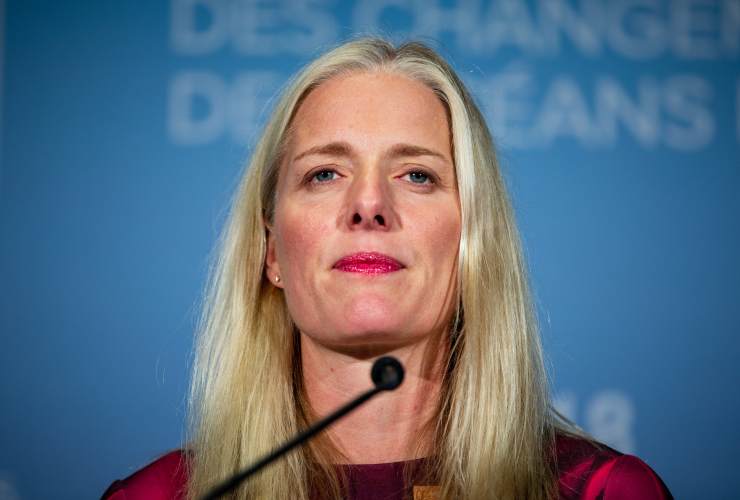 Environment and Climate Change Minister Catherine McKenna speaks to media during ministerial meetings for the G7 in Halifax on Sept. 19, 2018. Photo by Alex Tétreault