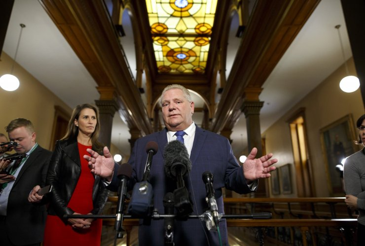Ontario Premier Doug Ford addresses the media outside of his Queen's Park office in Toronto on Monday, November 19, 2018. (Cole Burston for National Observer)