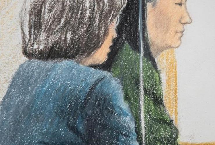 courtroom sketch, Meng Wanzhou, chief financial officer of Huawei Technologies, translator, bail hearing,