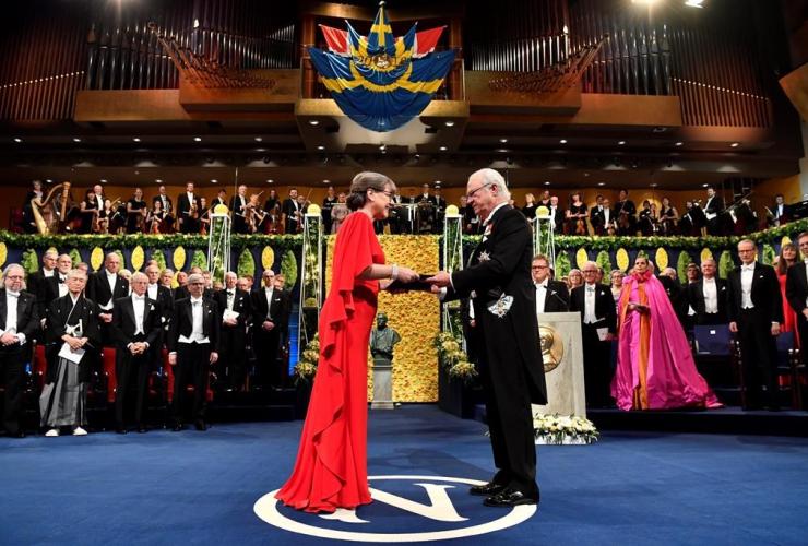 Physics laureate, Donna Strickland, King Carl Gustaf, Sweden, Nobel Prize award ceremony,
