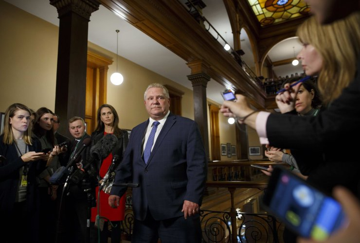Doug Ford, Caroline Mulroney, Queen's Park, press, media, reporters, press gallery, Ontario, Toronto