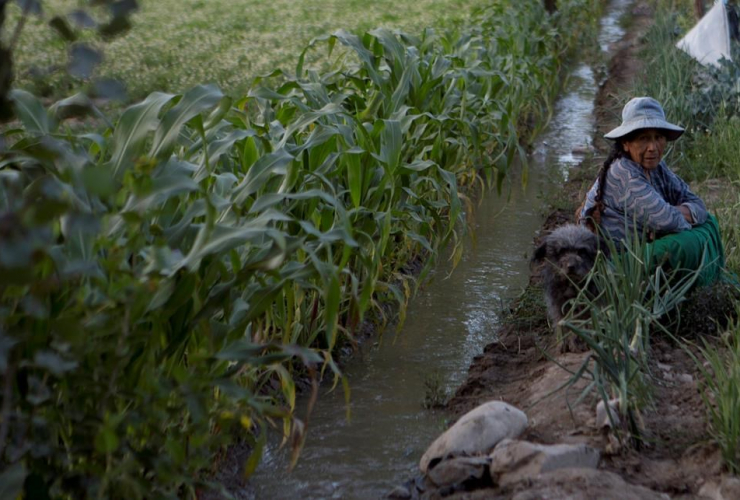 farmer, irrigation channel, contaminated, sewage water, Valencia, Bolivia,