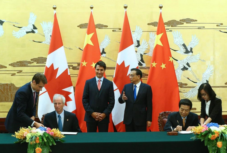 Chinese Premier Li Keqiang, Canadian Prime Minister Justin Trudeau,