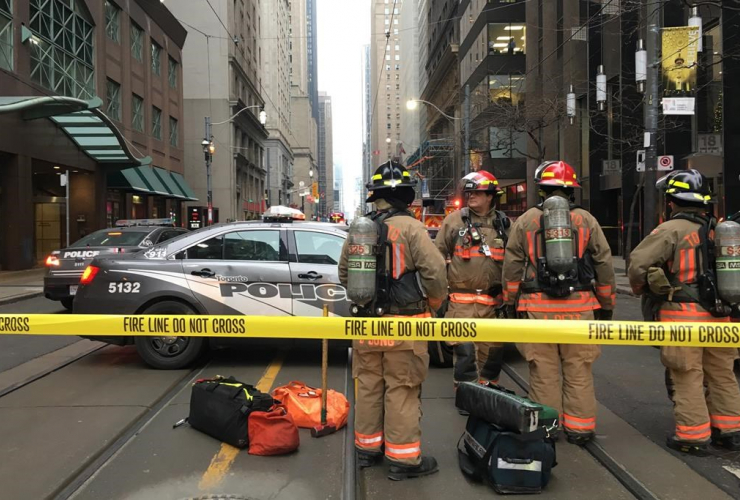Firefighters, bomb threat, evacuated, King Street subway station, downtown Toronto,
