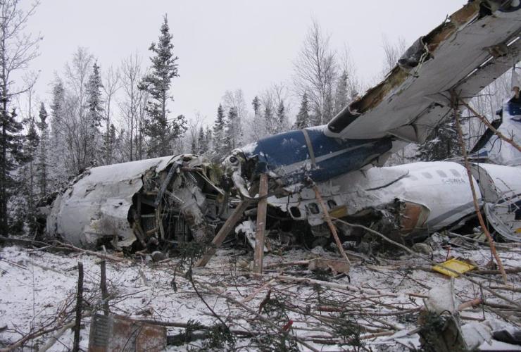 wreckage, aircraft, Fond du Lac, Sask.,