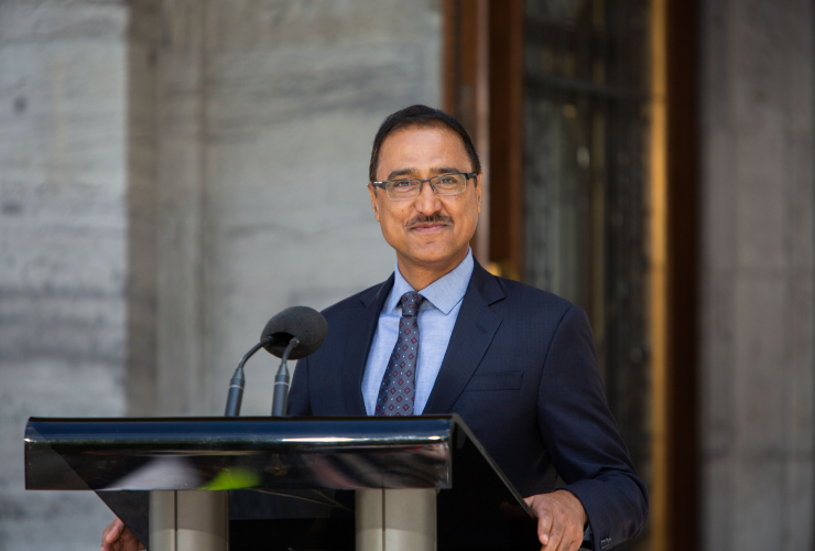 Amarjeet Sohi speaks to reporters after being sworn in as natural resources minister in Ottawa on July 18, 2018. Photo by Alex Tétreault