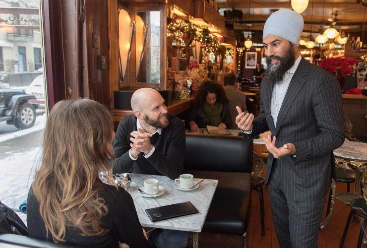 NDP Leader Jagmeet Singh, coffee shop,