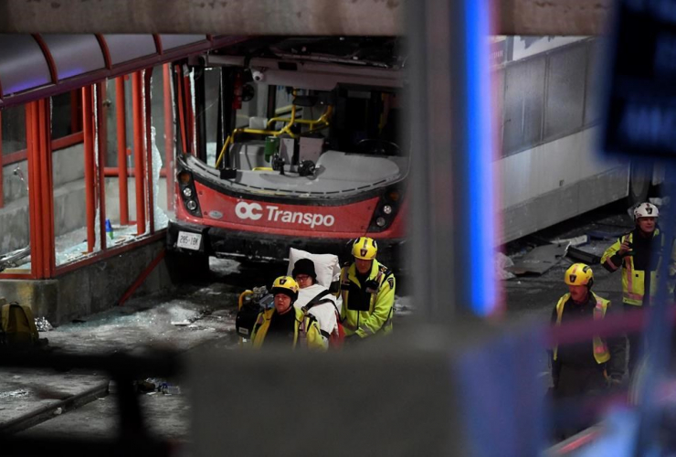 Police, first responders, double-decker city bus, transit shelter, Ottawa,