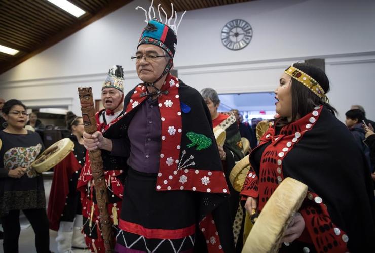 Drummers, Wet'suwet'en Hereditary Chief Namoks, John Ridsdale, Indigenous nations, Wet'suwet'en Nation, Smithers,