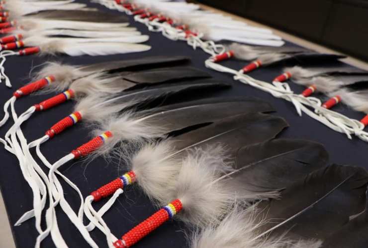 Eagle feathers, RCMP press conference, Winnipeg,