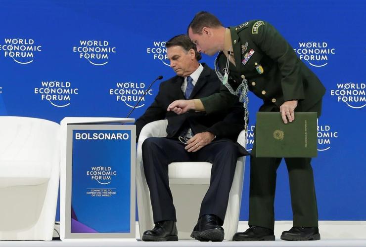 Jair Bolsonaro, President of Brazil, World Economic Forum, Davos, Switzerland,