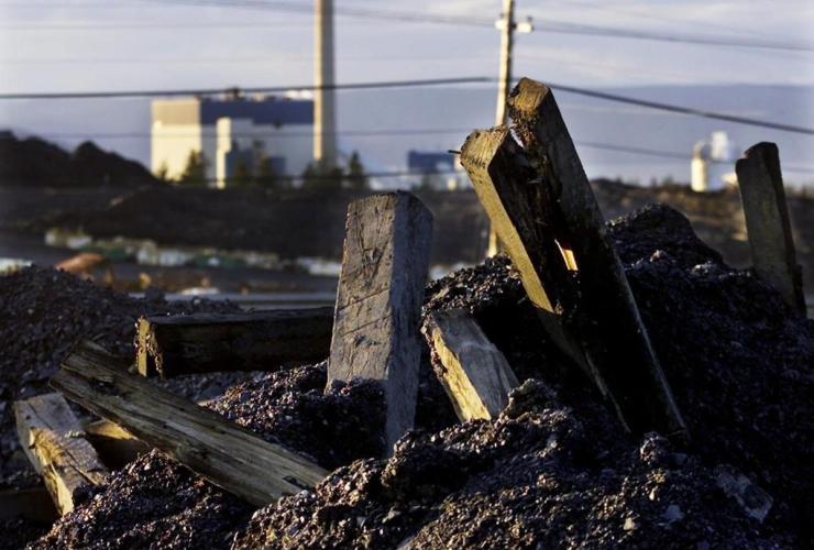 Timbers, coal mining, debris, Prince Mine, Point Aconi,