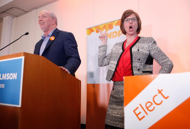 NDP candidate Shiela Malcolmson, Premier John Horgan, winning, byelection, Nanaimo,