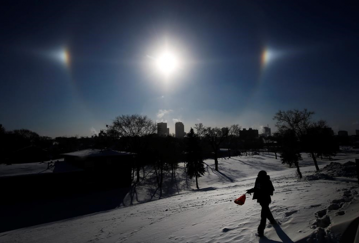 Sun Dogs, ice crystals, Winnipeg skyline,