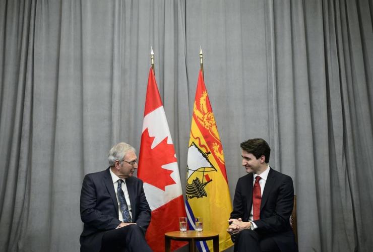 Prime Minister Justin Trudeau, New Brunswick Premier Blaine Higgs,