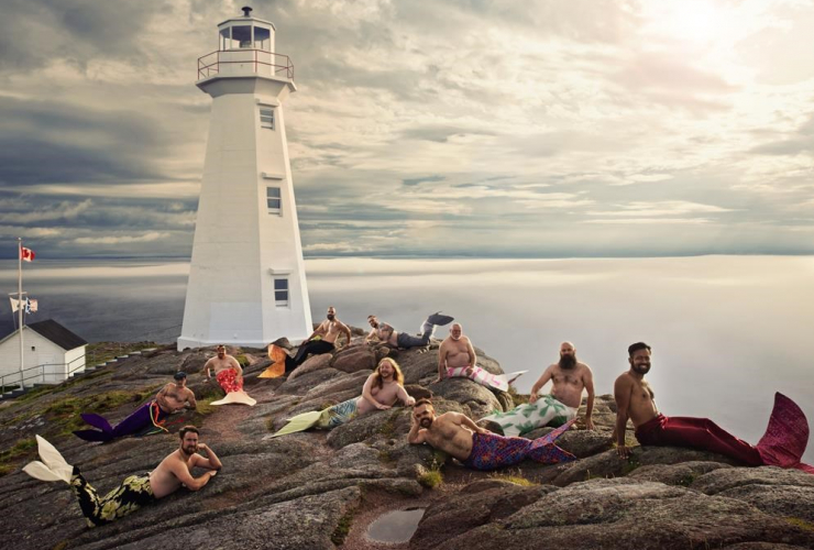 Men, Newfoundland and Labrador Beard and Moustache Club, mermaids, Cape Spear Lighthouse, National Historic site,