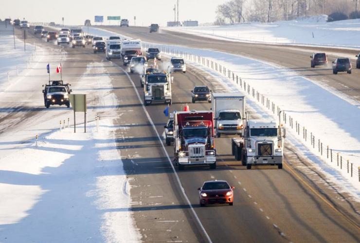 United We Roll, convoy, semi-trucks, highway, Red Deer,