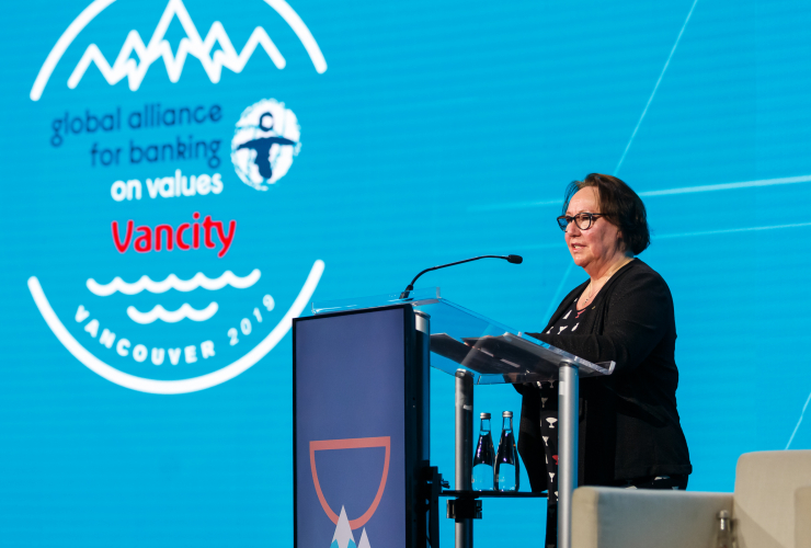 Author Sheila Watt-Cloutier speakers to bankers in Vancouver.