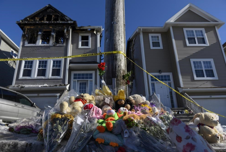 memorial of flowers, stuffed animal toys, Spryfield, Halifax,