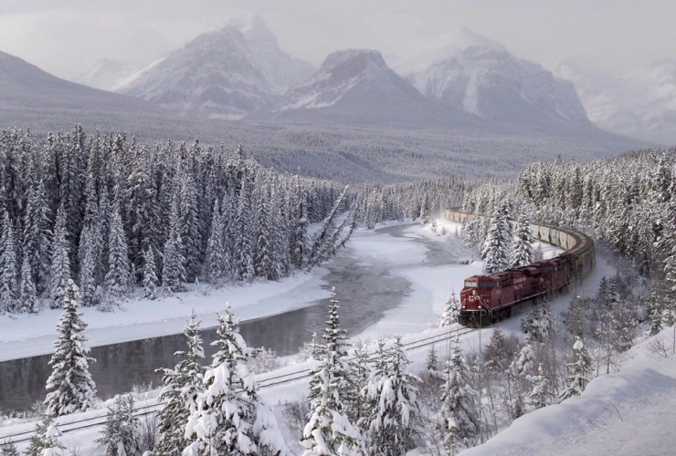 Canadian Pacific, freight train, Morant's Curve, Baker Creek,