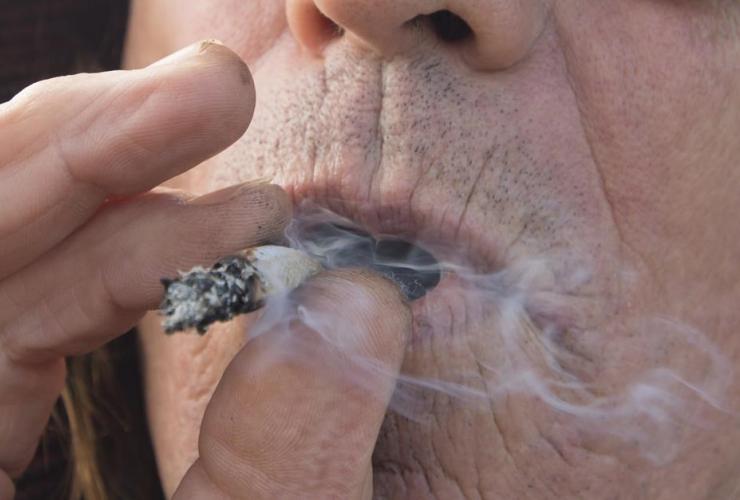 man, smokes, cannabis, Kamloops,