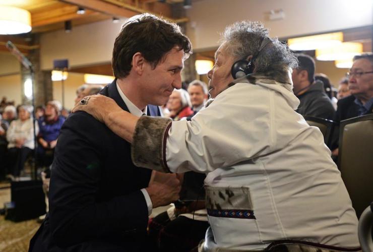 Prime Minister Justin Trudeau, Inuit Elder during, Iqaluit, Nunavut,