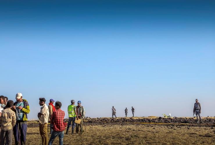 Rescuers, Ethiopian Airlines flight, crashed, Hejere, Bishoftu, Debre Zeit, Addis Ababa, Ethiopia,