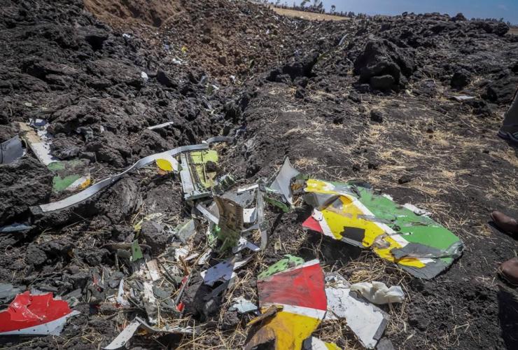 Wreckage, Ethiopian Airlines flight, crashed, Hejere, Bishoftu, Debre Zeit,
