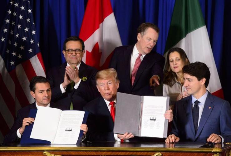 Justin Trudeau, Chrystia Freeland, Robert Lighthizer, Donald Trump, Ildefonso Guajardo Villarreal, Enrique Pena Nieto,