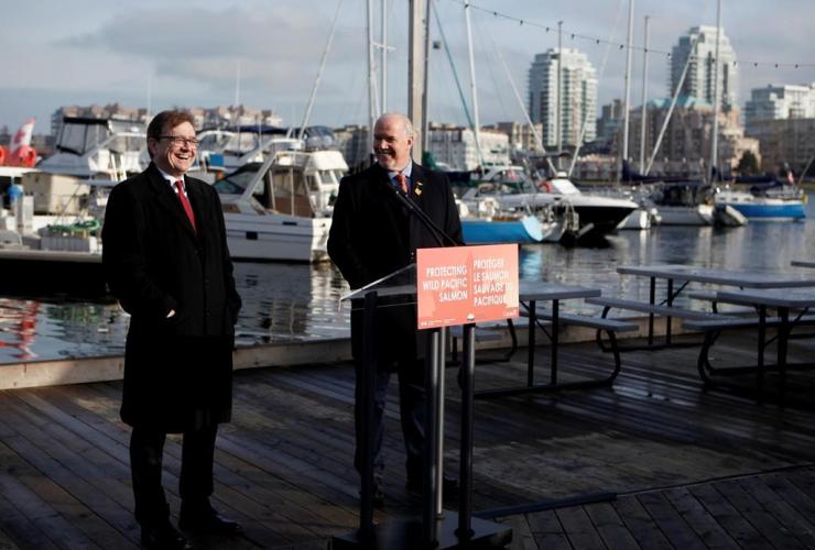 Premier John Horgan, federal Minister of Fisheries Jonathan Wilkinson,