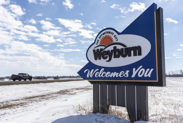 welcome sign, Weyburn, Sask.,